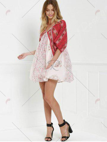 Lady V Neck Short Sleeve Vintage Print Dress - XS RED WITH WHITE Mobile