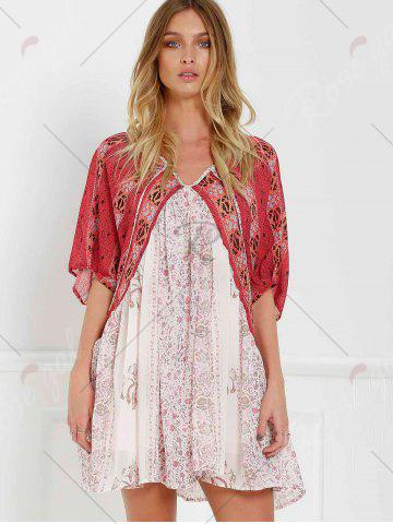 Unique V Neck Short Sleeve Vintage Print Dress - XS RED WITH WHITE Mobile