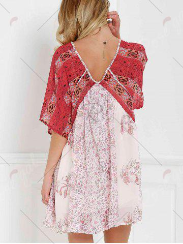 Fancy V Neck Short Sleeve Vintage Print Dress - XS RED WITH WHITE Mobile