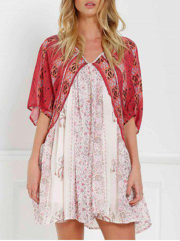 Unique V Neck Short Sleeve Vintage Print Dress RED WITH WHITE S