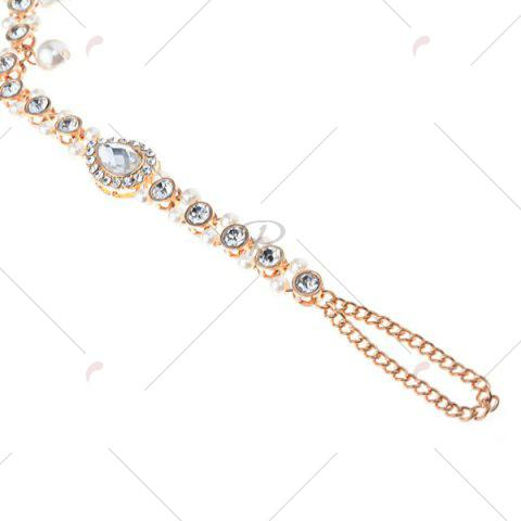 Fashion 1PC Rhinestoned Teardrop Beach Slave Anklet - GOLDEN  Mobile