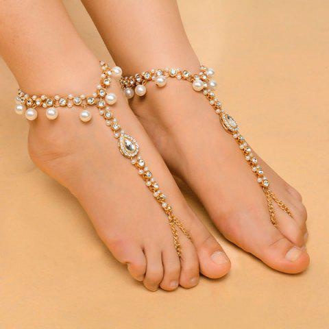 Fancy 1PC Rhinestoned Teardrop Beach Slave Anklet GOLDEN