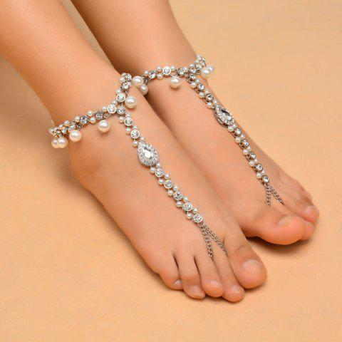 1PC Rhinestoned Teardrop Beach Slave Anklet Argent