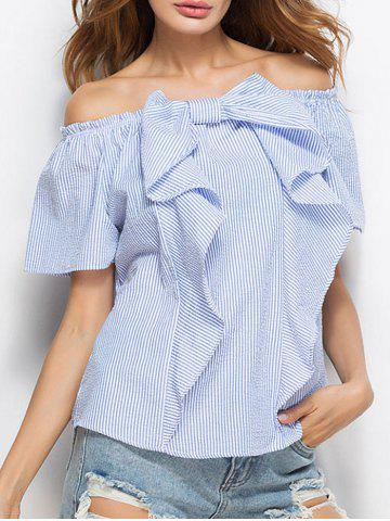 Discount Bowknot Convertible Off The Shoulder Blouse STRIP PATTERN S