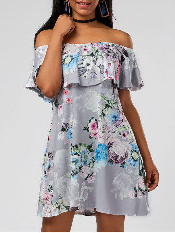 Latest Ruffle Floral Off The Shoulder Dress GRAY M