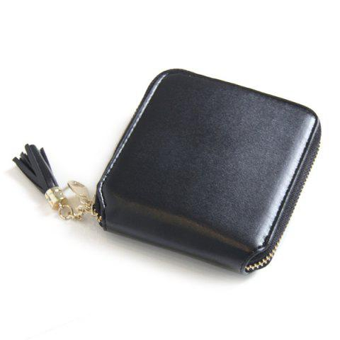 Chic Tassel Zipper Around Small Wallet BLACK