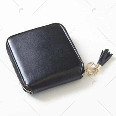 Buy Tassel Zipper Around Small Wallet - BLACK  Mobile