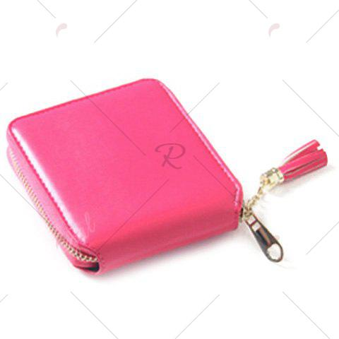 Buy Tassel Zipper Around Small Wallet - ROSE RED  Mobile