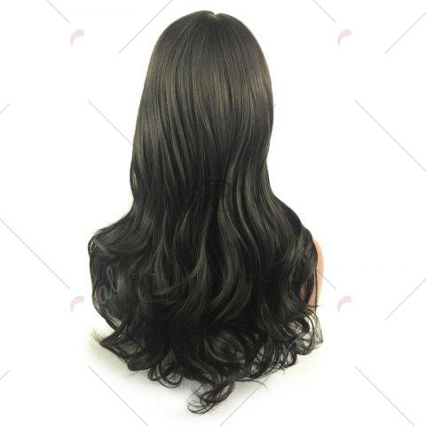 Best Long Layered Wavy Side Part Lace Front Synthetic Wig - BLACK  Mobile