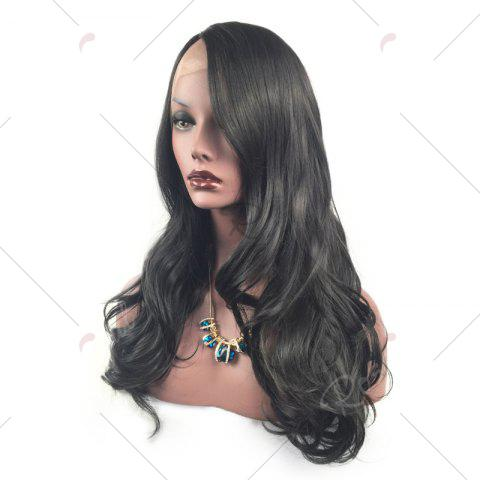 Hot Long Layered Wavy Side Part Lace Front Synthetic Wig - BLACK  Mobile