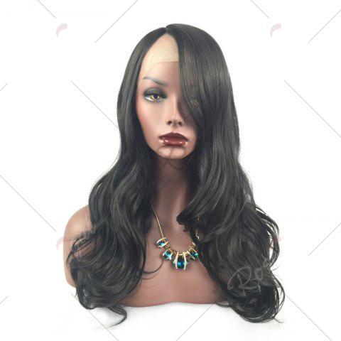 New Long Layered Wavy Side Part Lace Front Synthetic Wig - BLACK  Mobile