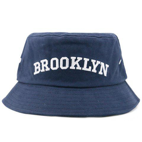 Letters Embroidered Flat Top Bucket Cap - Cadetblue