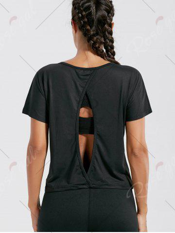 Latest Quick Dry Simple Running T-shirt - S BLACK Mobile