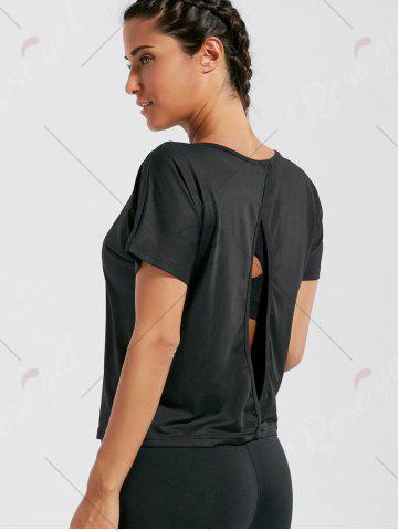Online Quick Dry Simple Running T-shirt - S BLACK Mobile