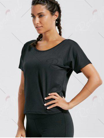 Online Quick Dry Simple Running T-shirt - M BLACK Mobile