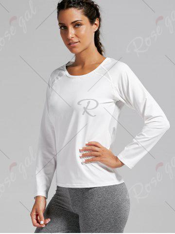 Online Open Back Quick-dry Sports T-shirt - S WHITE Mobile