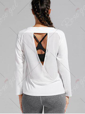 New Open Back Quick-dry Sports T-shirt - M WHITE Mobile