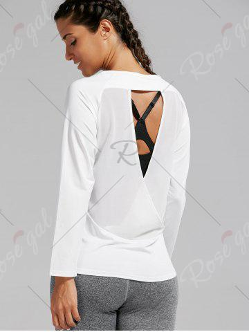 New Open Back Quick-dry Sports T-shirt - L WHITE Mobile