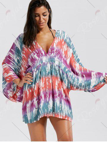 Cheap V Neck Oversized Cover Up - ONE SIZE COLORMIX Mobile
