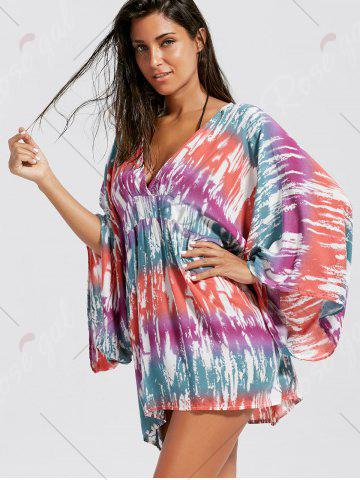 Sale V Neck Oversized Cover Up - ONE SIZE COLORMIX Mobile