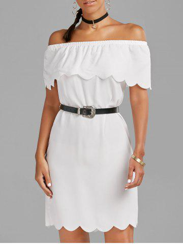 Online Off The Shoulder Scalloped Mini Dress - M WHITE Mobile