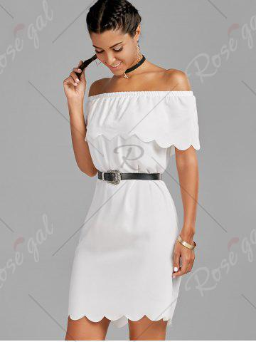 Trendy Off The Shoulder Scalloped Mini Dress - M WHITE Mobile