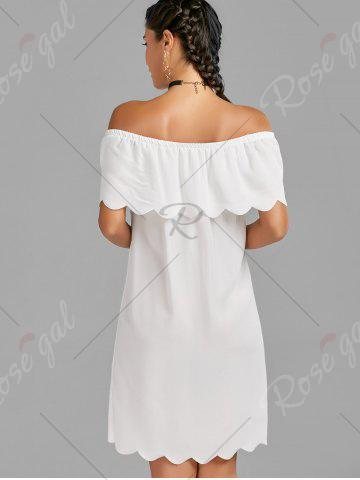 Buy Off The Shoulder Scalloped Mini Dress - M WHITE Mobile