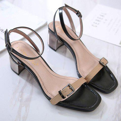 Mid Heel Double Belt Buckle Sandals - Apricot - 38