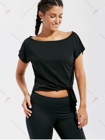 Chic Active  Front Tie CroppedT-shirt - S BLACK Mobile