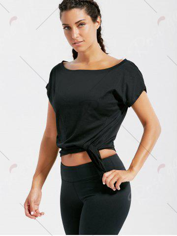 Latest Active  Front Tie CroppedT-shirt - S BLACK Mobile