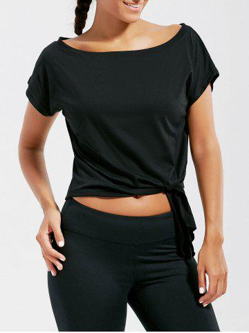 Outfit Active  Front Tie CroppedT-shirt - BLACK M Mobile