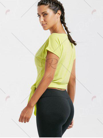 Trendy Active  Front Tie CroppedT-shirt - BLUISH YELLOW M Mobile