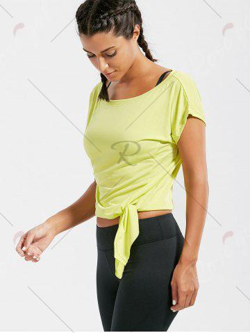 Chic Active  Front Tie CroppedT-shirt - BLUISH YELLOW M Mobile