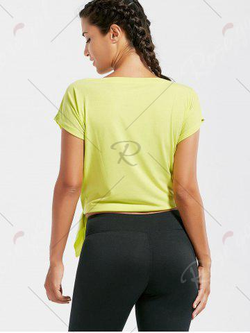 Shop Active  Front Tie CroppedT-shirt - BLUISH YELLOW M Mobile