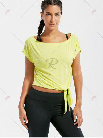 Chic Active  Front Tie CroppedT-shirt - BLUISH YELLOW S Mobile