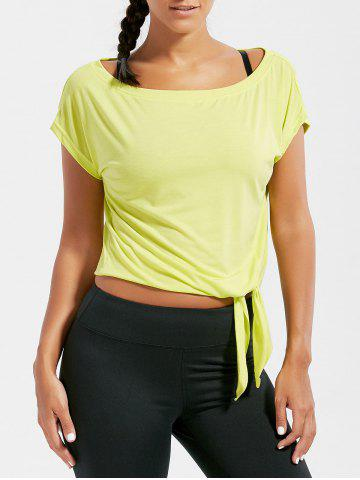 Sale Active  Front Tie CroppedT-shirt - BLUISH YELLOW S Mobile