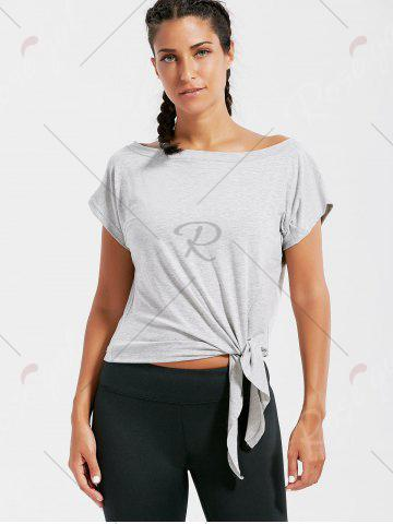 Trendy Active  Front Tie CroppedT-shirt - L GRAY Mobile
