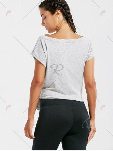 Fashion Active  Front Tie CroppedT-shirt - L GRAY Mobile