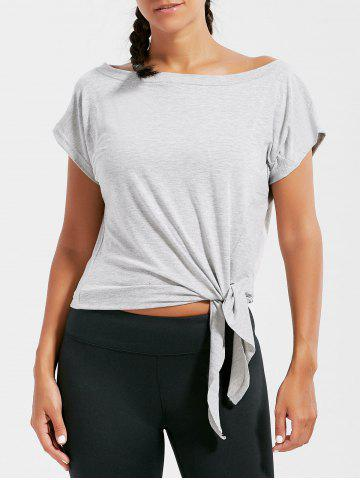 Chic Active  Front Tie CroppedT-shirt - L GRAY Mobile