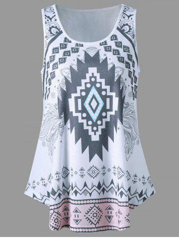 Curved Hem Tribal Tank Top - White - Xl