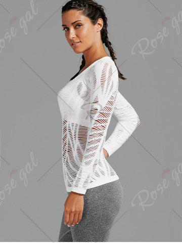 Buy Sheer Ripped Long Sleeve  Sports T-shirt - L WHITE Mobile