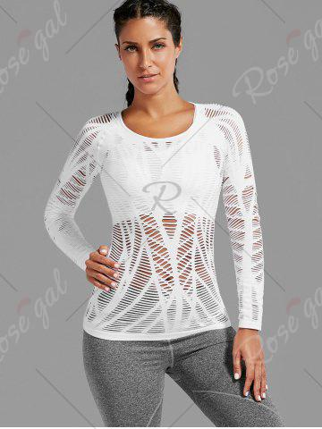 Store Sheer Ripped Long Sleeve  Sports T-shirt - WHITE S Mobile