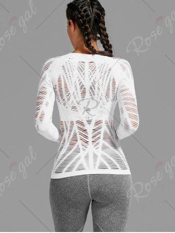 Latest Sheer Ripped Long Sleeve  Sports T-shirt - WHITE S Mobile