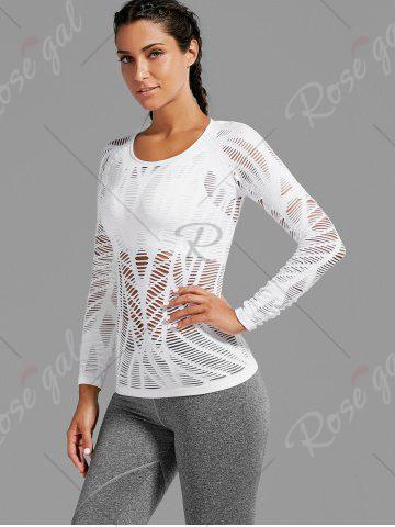 Hot Sheer Ripped Long Sleeve  Sports T-shirt - WHITE S Mobile