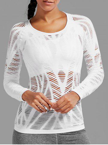 New Sheer Ripped Long Sleeve  Sports T-shirt - WHITE S Mobile