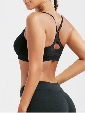 Racer Back Padded Cutross Gym Bra Noir M