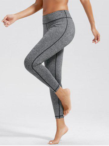 Simple High Waist Fitness Leggings with Pockets - Light Gray - M