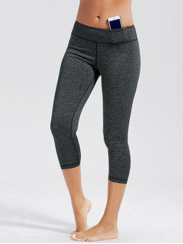 High Rise Capri Workout Leggings with Pockets - Deep Gray - S