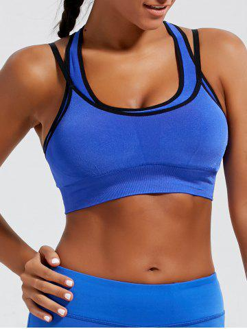 Trendy Strappy Padded Double-Layered Sports Bra - L BLUE Mobile