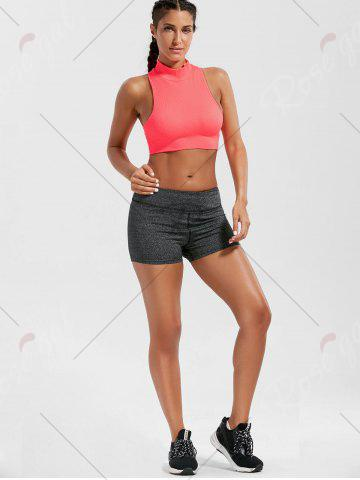 Trendy Padded High Neck Sports Crop Bra Top - M BRIGHT PINK Mobile